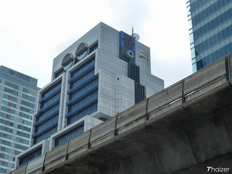 front view of robot building Bangkok and the skytrain