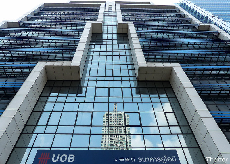 looking up at the front of the UOB building on South Sathorn Road, Bangkok