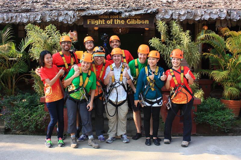 group photo at Flight of the Gibbon, Chiang Mai