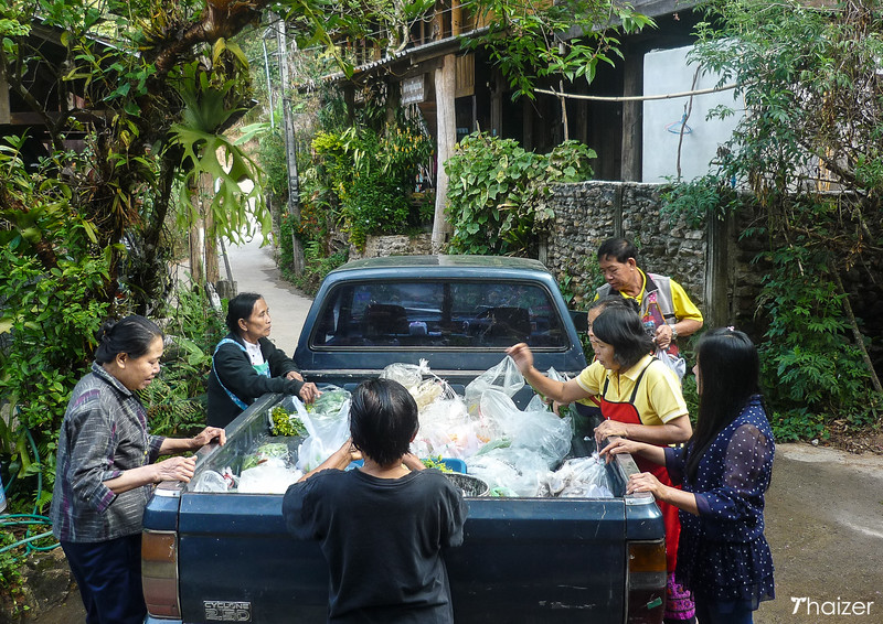 delivering food and fresh vegetables to Mae Kampong
