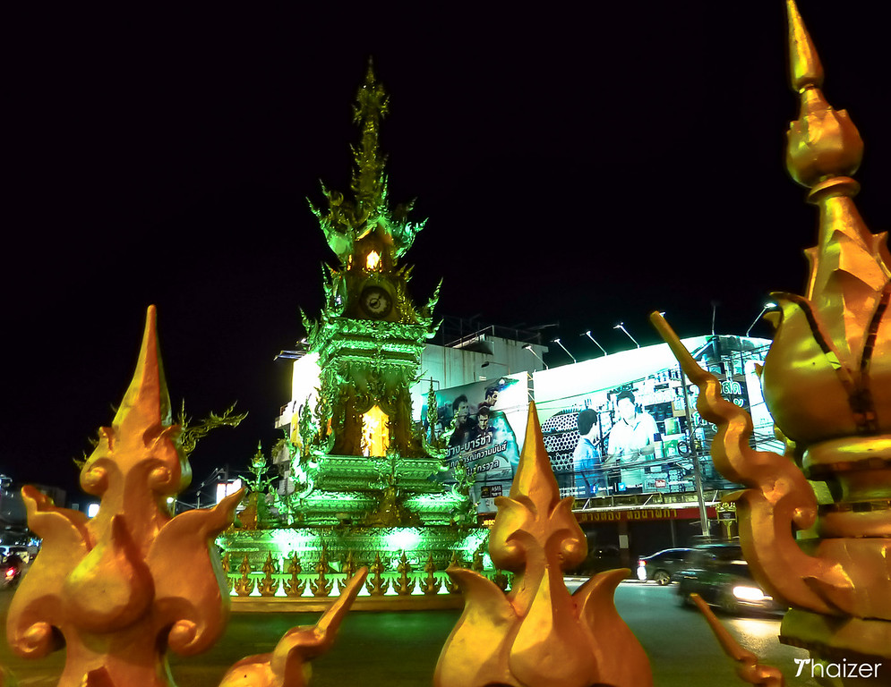 light and sound show at Chiang Rai golden clocktower