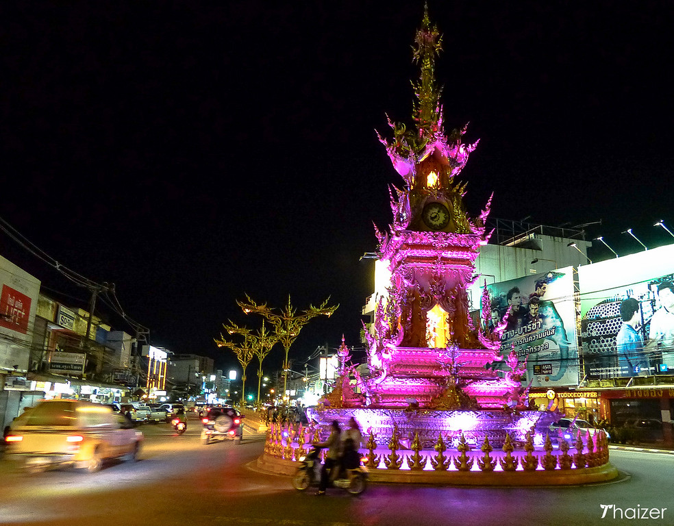 light and sound show at Chiang Rai golden clocktower at night