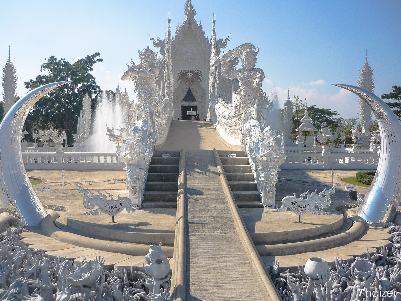 Bridge leading to the entrance of the White Temple, Chiang Rai