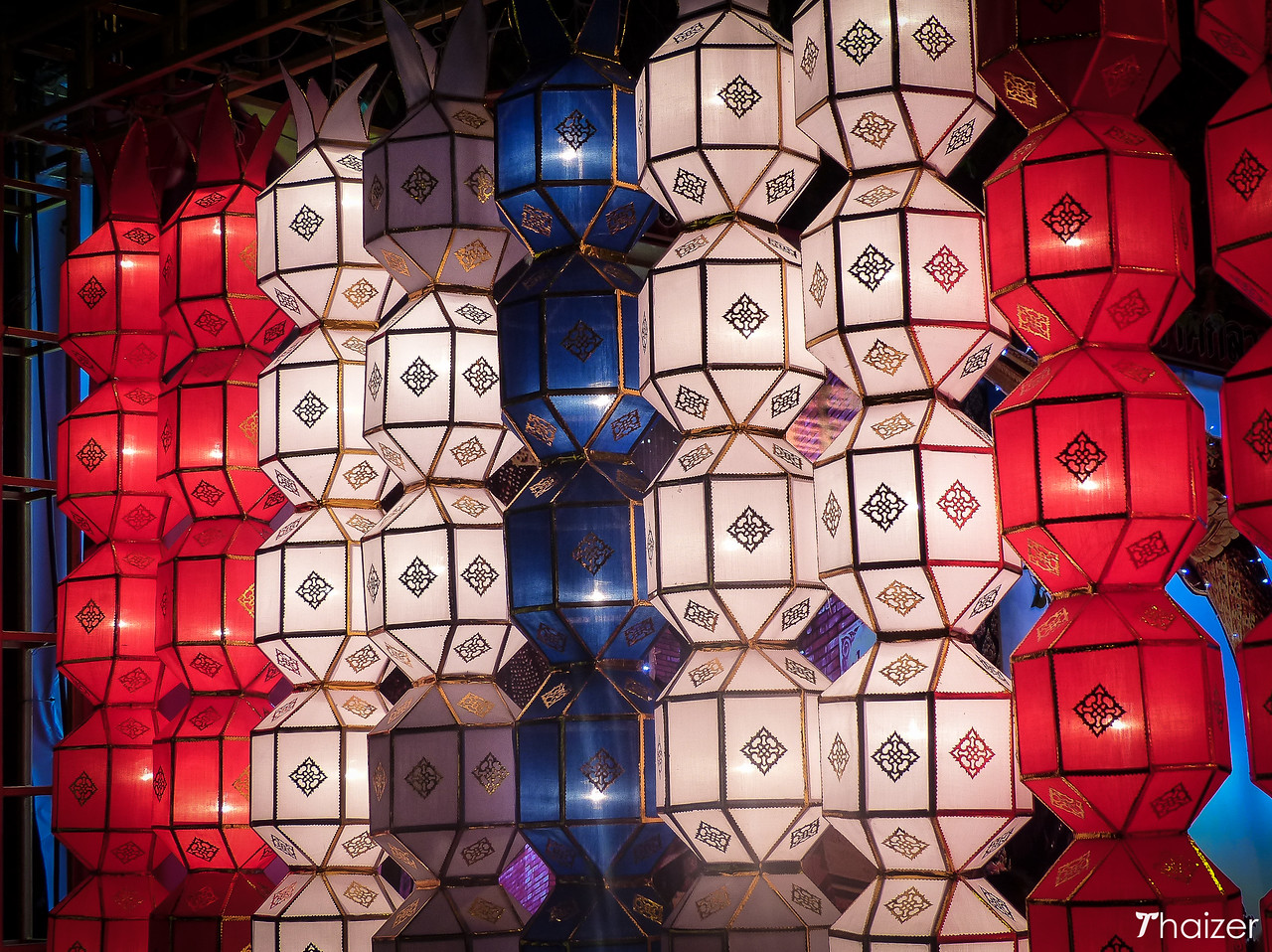 lanterns form the colours of the Thai flag
