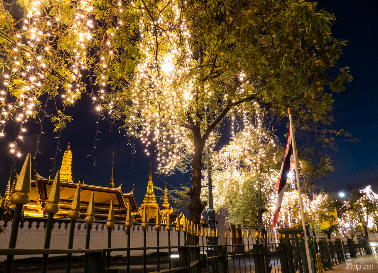 lights on Sanam Luang in front of Grand Palace