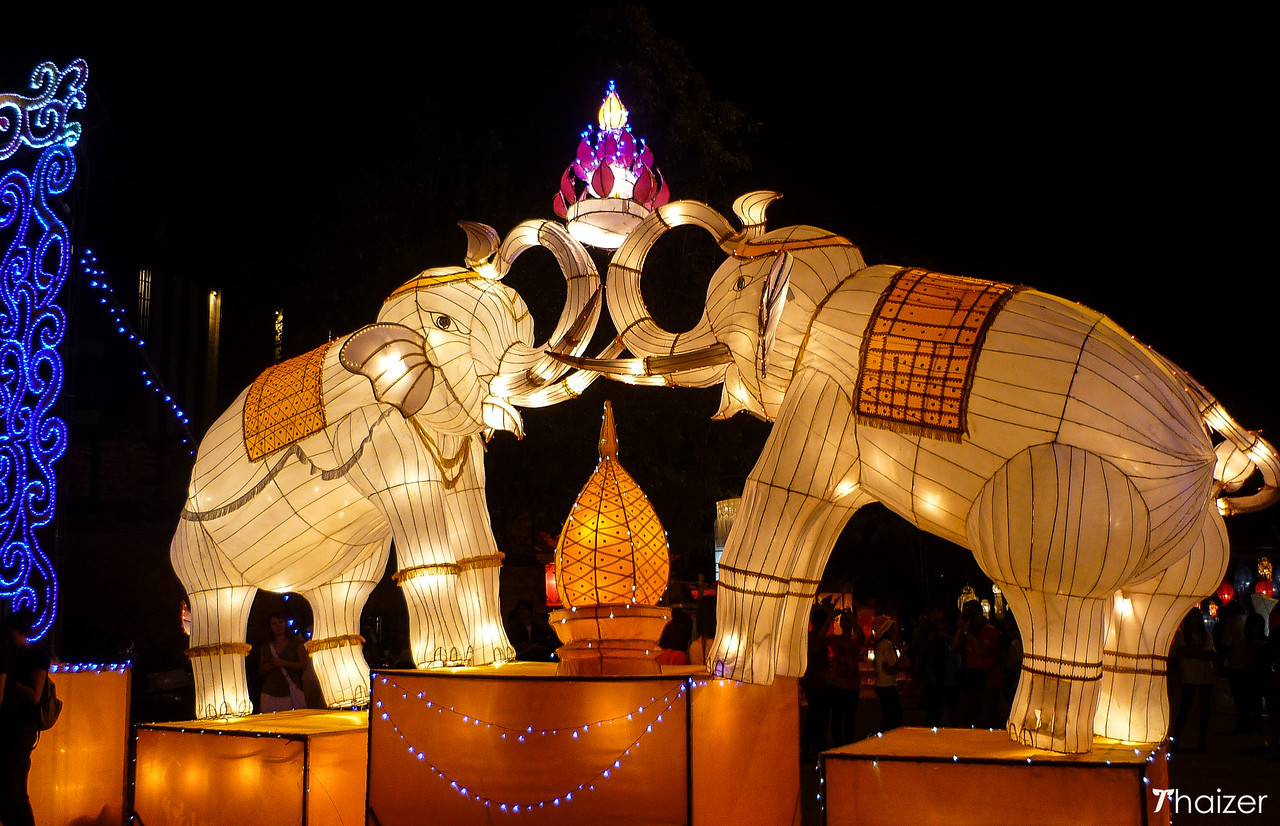 elephant lanterns in Chiang Mai for the Yi Peng Festival