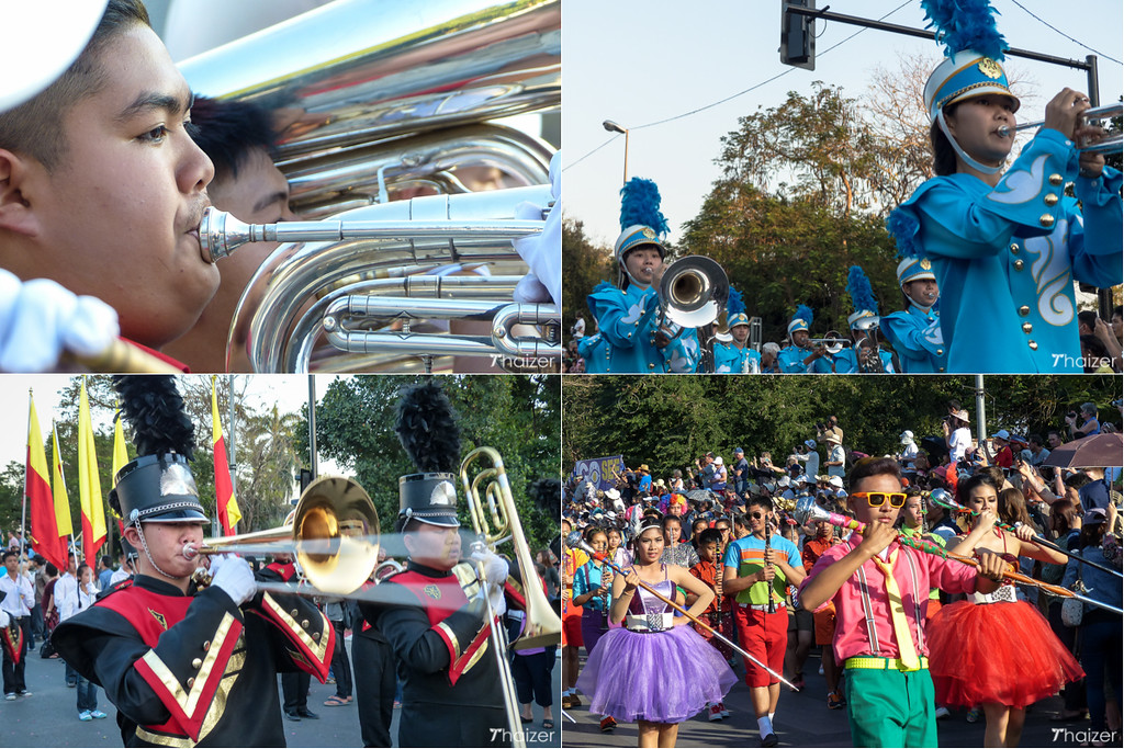 music and marching bands at the Chiang Mai Flower Festival
