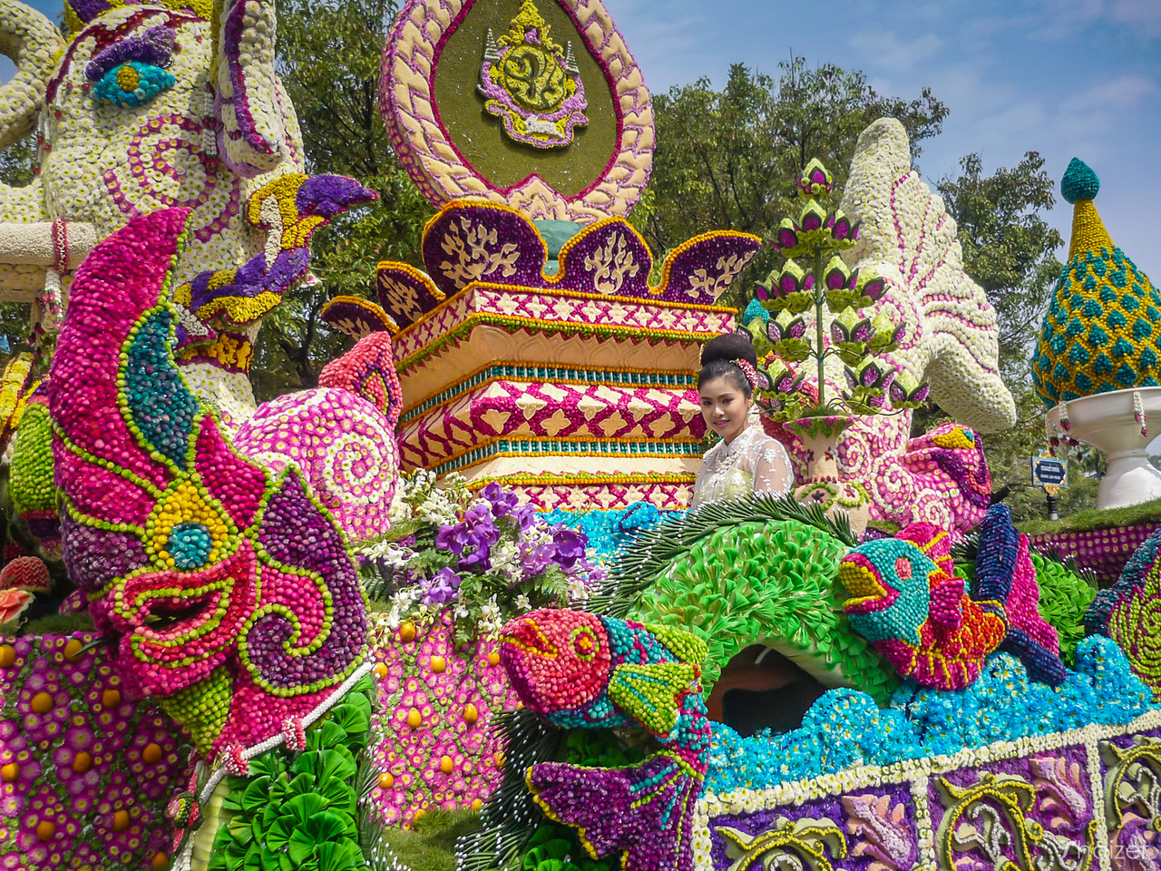 colourful float at Chiang Mai Flower Festival