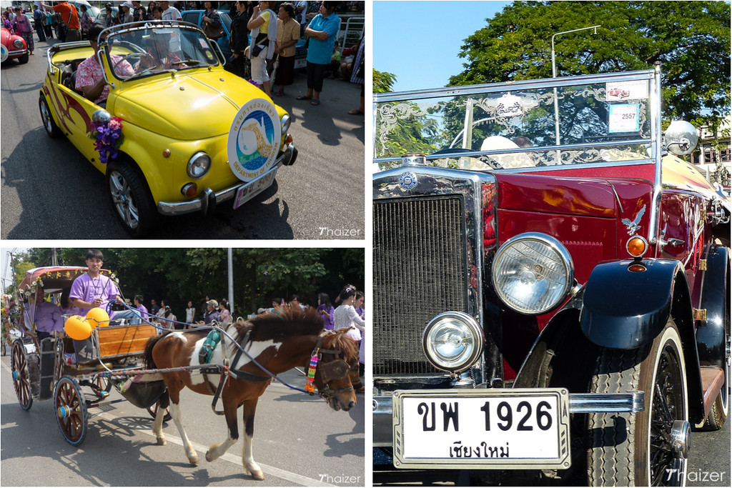 vintage cars at the Chiang Mai Flower Festival